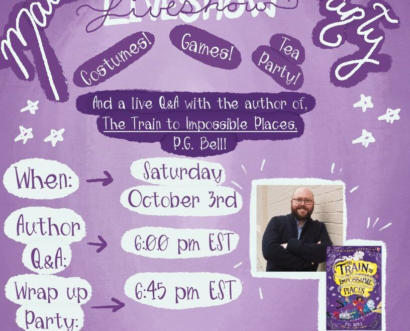 Flier for the Touch of Whimsy Bookclub's live event, with date and time details, and a photo of author P.G. Bell