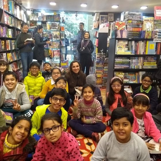Young readers at the Kool Skool bookshop in New Delhi, waiting for an event with P.G. Bell