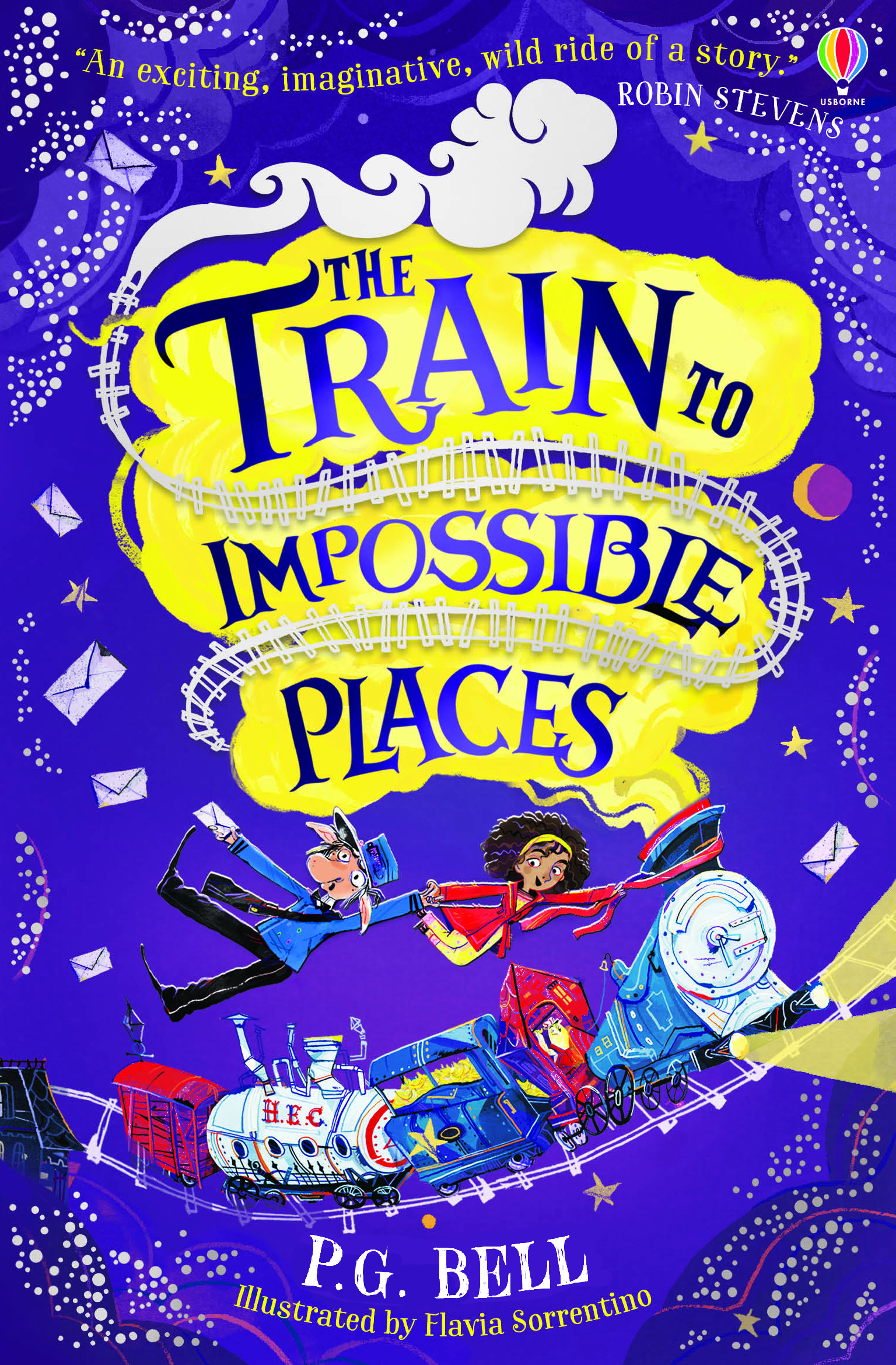 The paperback cover of The Train To Impossible Places. It's purple, and features Suzy and Wilmot flying above the train, which puffs yellow steam from its chimney.