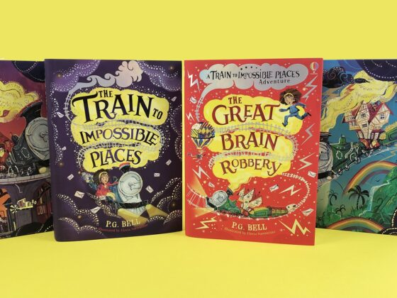 The hardback covers of The Train to Impossible Places and The Great Brain Robbery side by side