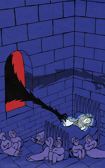 Max Low's illustration for the story of Rhiannon in The Mab. It depicts a terrifying black claw on a long, hairy arm, reaching in through the window of a castle to snatch a baby boy from his sleeping mother's arms.