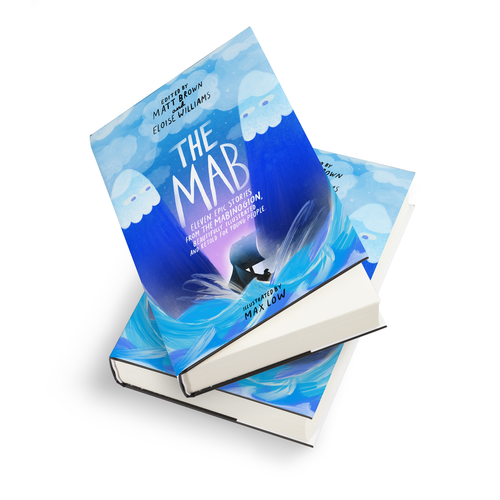 Two hardback copies of The Mab lying together on a white background