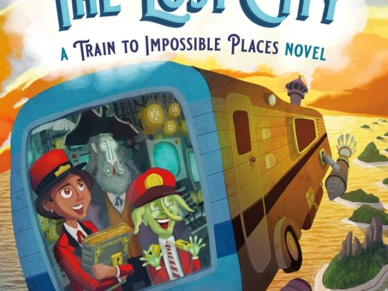 """The US cover of """"Delivery to the Lost City"""", illustrated by Matt Sharack. The cover illustration shows Suzy, an 11 year old human girl, Wilmot, her green troll friend, and the Chief, a ghostly explorer, looking out of the window of a flying rocket-powered caravan as it sails over a tropical ocean. A string of desert islands is visible below them, along with a floating railway line on which an old fashion steam train is visible."""