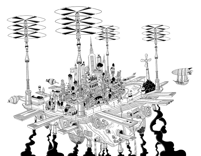 A black and white line illustration of the flying city of Propellendorf by Matt Sharack. The city is made up of a cluster of towers, skyscrapers and runways, held aloft by four enormous sets of rotorblades.